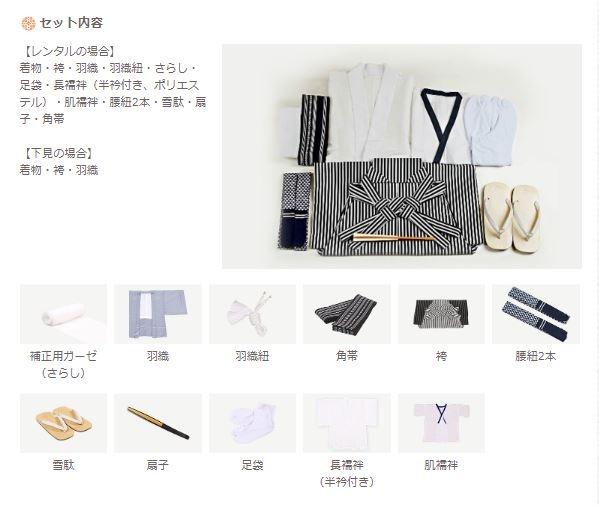 きもの365の男性用紋付き袴のセット内容